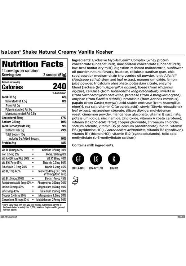 Isagenix IsaLean Shake Creamy Vanilla Nutrition Facts