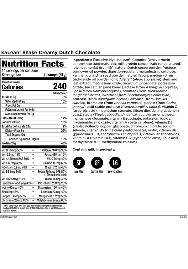 Isagenix IsaLean Shake Dutch Chocolate Nutrition Panel