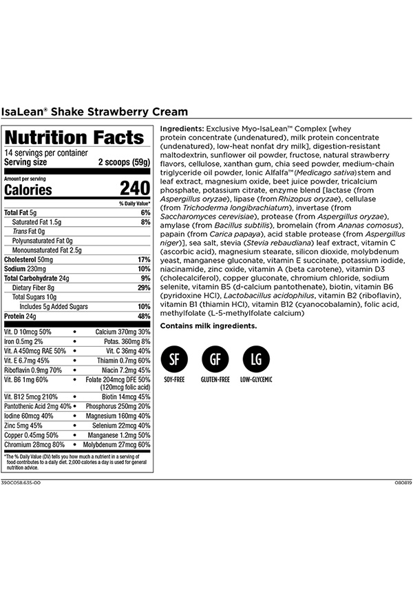 Isagenix IsaLean Shake Strawberry Cream Nutrition Facts