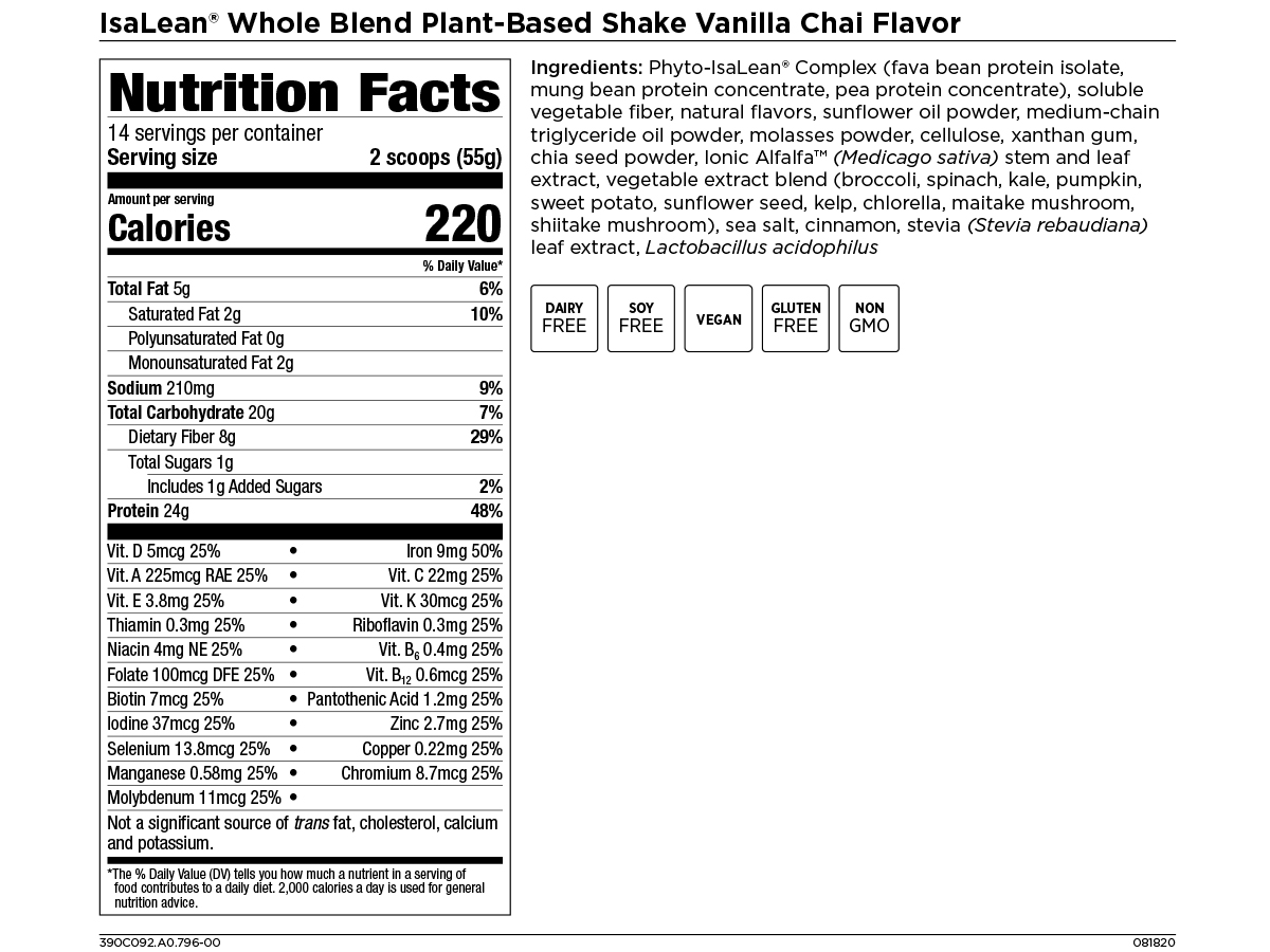 Isagenix Whole Blend IsaLean Shakes Vanilla Chai Nutrition Facts